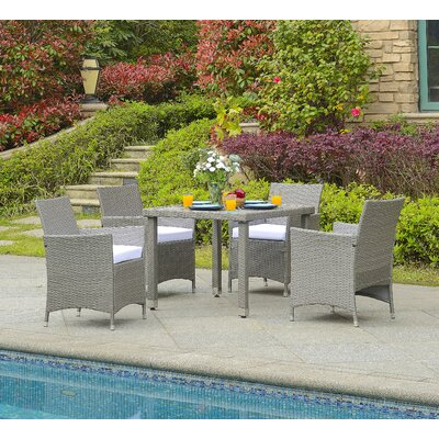 Mercer 5 Piece Outdoor Dining Set with Cushion Finish: Gray/White
