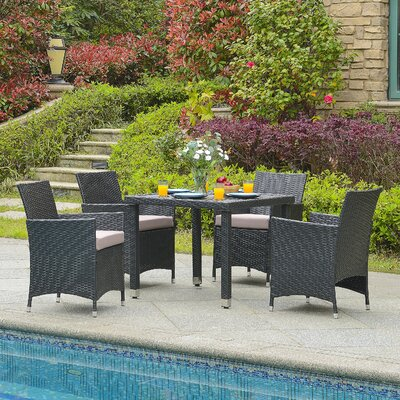 Mercer 5 Piece Outdoor Dining Set with Cushion Finish: Black/Sand