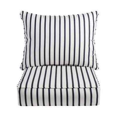 Stripe 2 Piece Indoor/Outdoor Sunbrella Lounge Chair Cushion Set