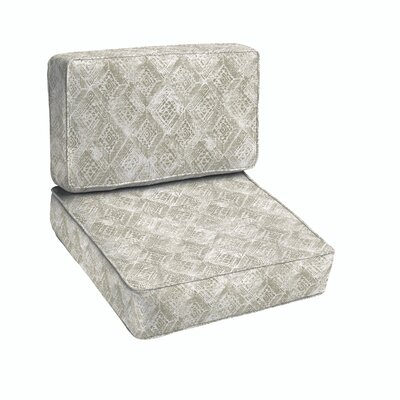 Falcone Geometric Piped 2 Piece Indoor/Outdoor Dining Chair Cushion Set Size: 18 H x 22 W x 27 D