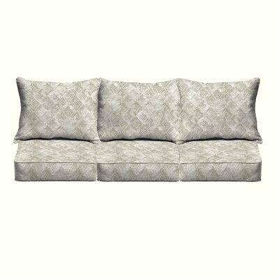 Falcone Geometric Piped 6 Piece Indoor/Outdoor Sofa Cushion Set