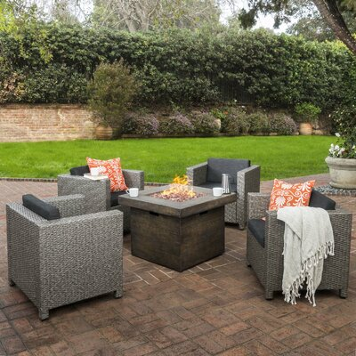 Ballew Rustic Outdoor Wicker 5 Piece Firepit Set Seating Group with cushions