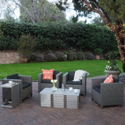 Ballew Outdoor 8 Piece Deep Seating Group with Cushions Finish: Dark Gray/Mixed Black/Silver