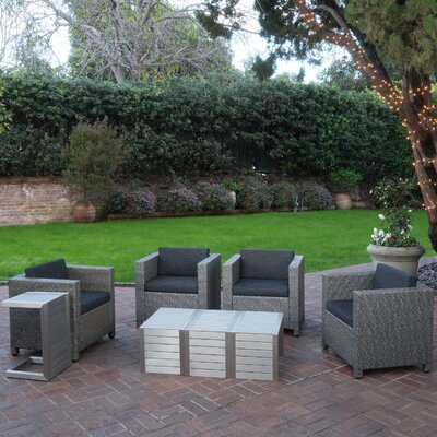Ballew Outdoor 8 Piece Deep Seating Group with Cushions Finish: Dark Gray/Mixed Black/Natural