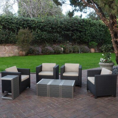 Ballew Outdoor 8 Piece Deep Seating Group with Cushions Finish: Dark Brown/Beige/Natural