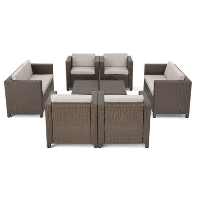 Ballew Outdoor Wicker 8 Piece Deep Seating Group with Cushions Fabric: Brown