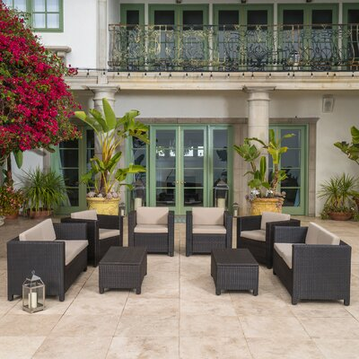 Homer Outdoor Wicker 8 Piece Deep Seating Group with Cushions Fabric: Dark Brown