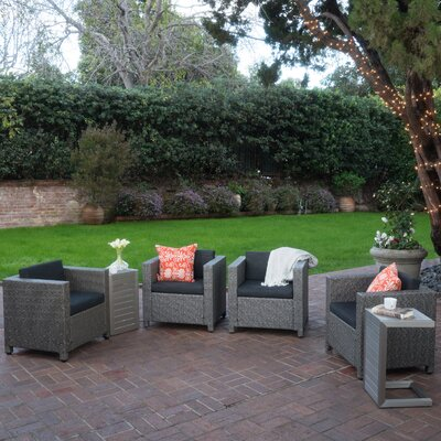 Homer Outdoor Wicker 6 Piece Deep Seating Group with Cushions Color: Silver