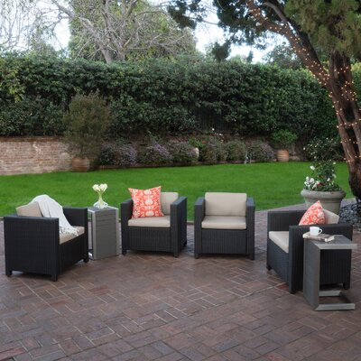Ballew Outdoor Wicker 6 Piece Lounge Seating Group with Cushions Finish: Natural
