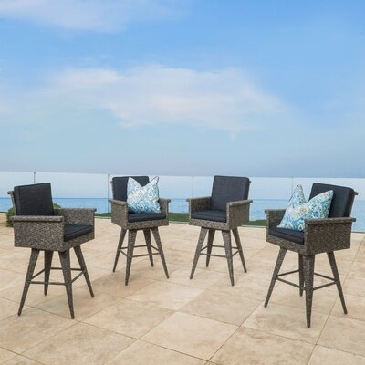 Ballew Wicker Barstool with Cushion