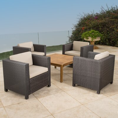 Homer Outdoor Wicker 5 Piece Deep Seating Group with Cushions Finish: Dark Brown