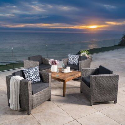 Homer Outdoor Wicker 5 Piece Deep Seating Group with Cushions Finish: Dark Gray
