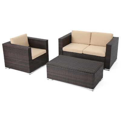 Arruda Outdoor Wicker 3 Piece Deep Seating Group with Cushions Frame Finish: Brown
