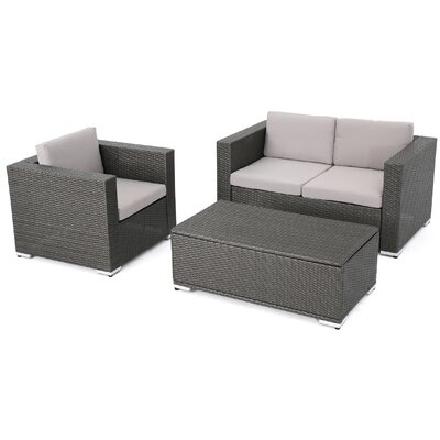 Arruda Outdoor Wicker 3 Piece Deep Seating Group with Cushions Frame Finish: Gray