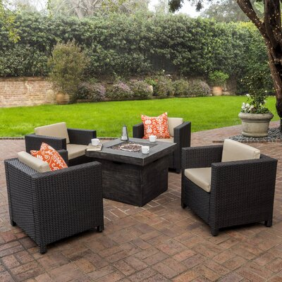 Homer Outdoor Wicker 5 Piece Firepit Set Seating Group with Cushions