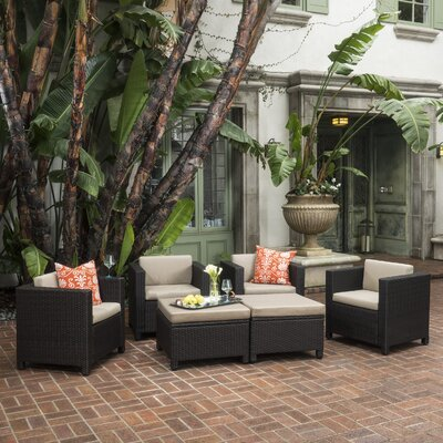 Homer Wicker 6 Piece Deep Seating Group with Cushion Finish: Dark Brown