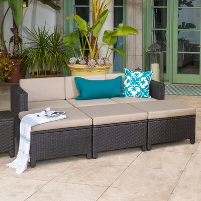 Ballew Outdoor Wicker 6 Piece Deep Seating Group with Cushion Frame Finish: Brown/Beige