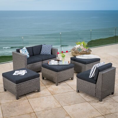 Ballew Outdoor Wicker 6 Piece Deep Seating Group with Cushion Frame Finish: Gray/Black
