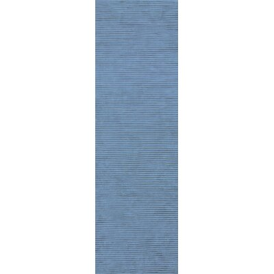 Braun Graphite Bright Cerulean Striped Area Rug Rug Size: Runner 26 x 8