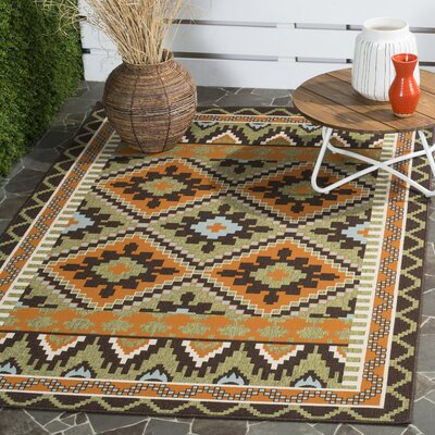Sierra Green/Terracotta  Indoor/Outdoor Area Rug Rug Size: 53 x 77