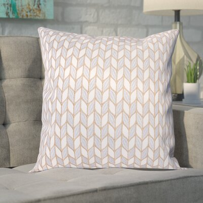Neapolis Block Chevron Throw Pillow Color: Silver Gold