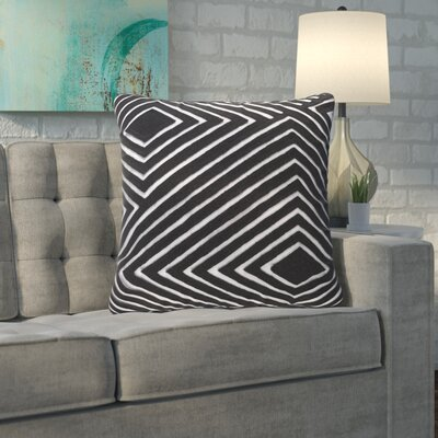 Rieder Cotton Throw Pillow Size: 22 H x 22 W x 4 D, Color: Black/Light Gray