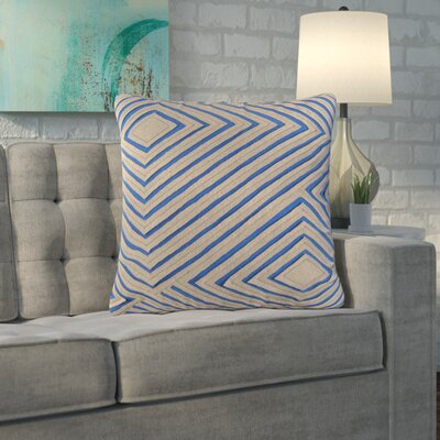 Rieder Cotton Throw Pillow Size: 20 H x 20 W x 4 D, Color: Camel/Bright Blue