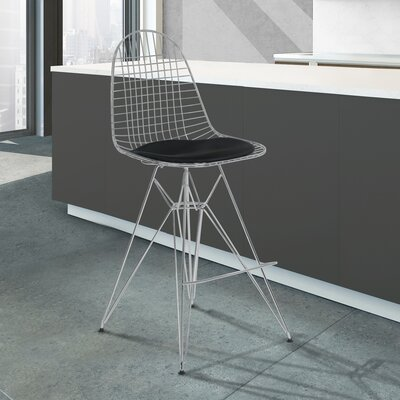 Rosser 43.31 Bar Stool Upholstery: Black