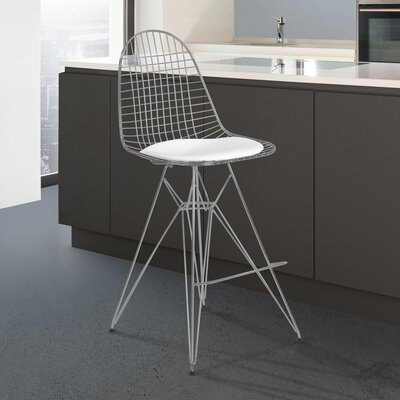 Rosser 43.31 inch Bar Stool with Cushion Upholstery: White