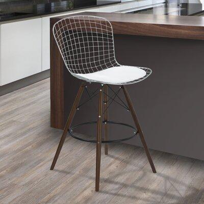 Rosenstein 41.73 Bar Stool with Cushion Upholstery: White