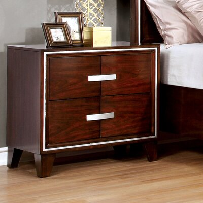 Lumley Contemporary 2 Drawer Nightstand