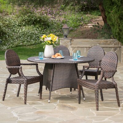 Luong Outdoor Wicker 5 Piece Dining Set