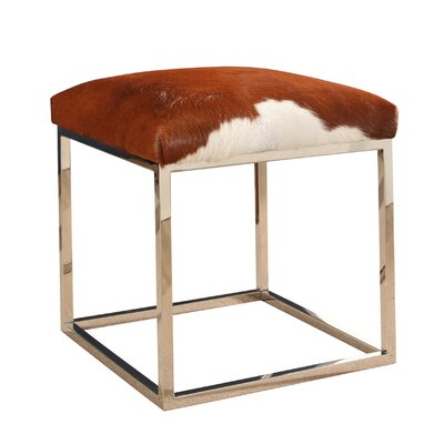 Luper Stainless Steel Leather Ottoman
