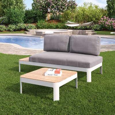 Lyke Aluminum Outdoor Convertible 2 Piece Deep Seating Group with Cushions