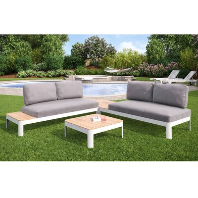 Lyke Aluminum Outdoor Convertible 4 Piece Deep Seating Group with Cushions