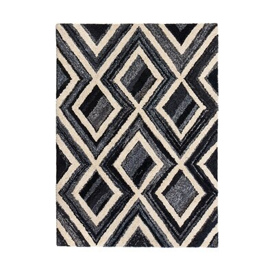 Maag Hand-Tufted Black/Gray/Beige Area Rug Rug Size: 5 x 8