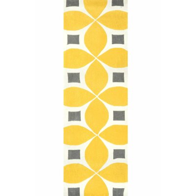 Sorrento Sunflower Gabriela Hand Woven Yellow/Gray/Beige Area Rug Rug Size: Runner 26 x 8