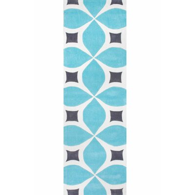 Crispin Hand-Tufted Baby Blue/White Area Rug Rug Size: Runner 26 x 8