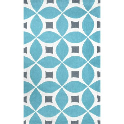 Arverne Hand-Tufted Baby Blue/White Area Rug