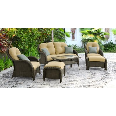 Swartwood 6 Piece Wicker Deep Seating Group with Cushions Fabric: Golden-Wheat Beige