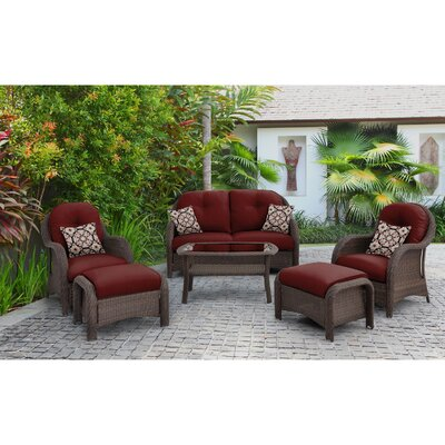 Swartwood 6 Piece Wicker Deep Seating Group with Cushions Fabric: Crimson Red