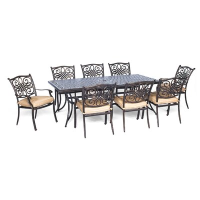 Barryton 9 Piece Oil Rubbed Bronze Dining Set with Cushion