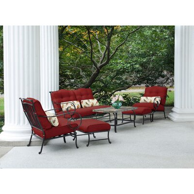 Swayne 6 Piece Patio Set with Cushions Fabric: Crimson Red