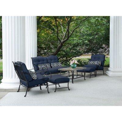 Swayne 6 Piece Patio Set with Cushions Fabric: Navy Blue