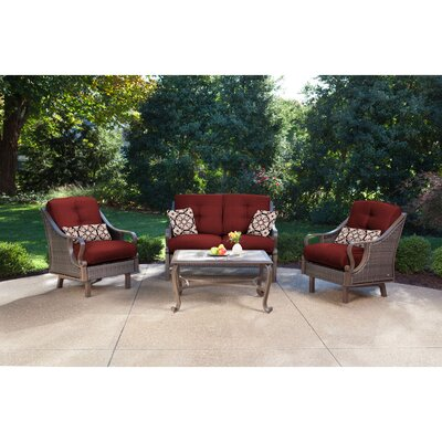 Sherwood 4 Piece Patio Seating Group Fabric: Crimson Red