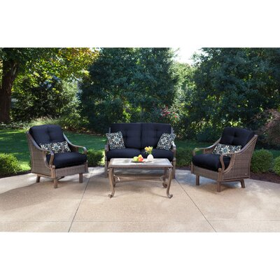 Sherwood 4 Piece Patio Seating Group Fabric: Navy Blue