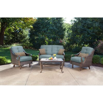 Sherwood 4 Piece Patio Seating Group Fabric: Ocean Blue