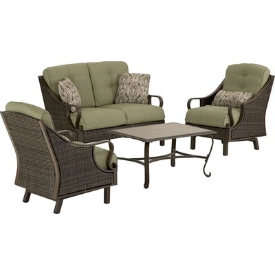 Sherwood 4 Piece Patio Seating Group Fabric: Olive