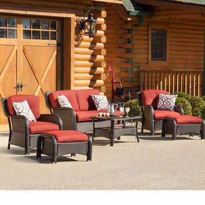 Billington 6 Piece Lounge Seating Group with Cushions Fabric: Crimson Red