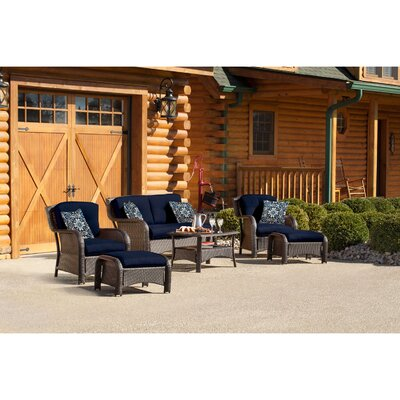 Billington 6 Piece Lounge Seating Group with Cushions Fabric: Navy Blue